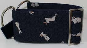 blue dog collar with rabbits