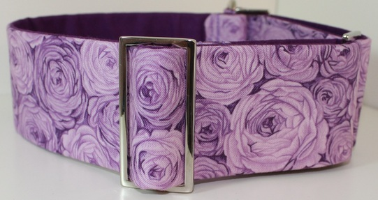 Fabric martingale collar with lilac roses
