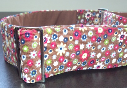 flower print corduroy dog collar